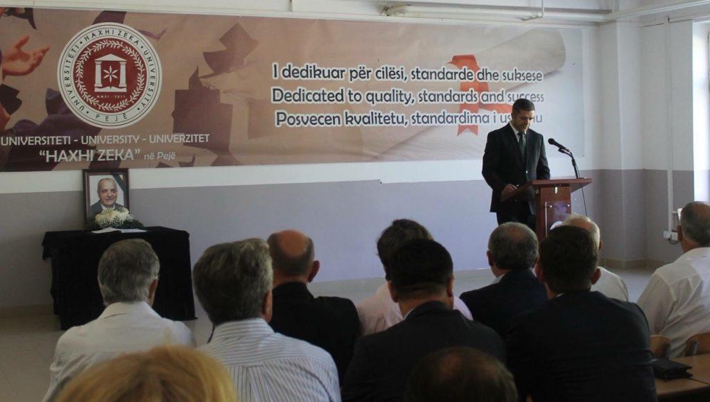 """Universiteti """"Haxhi Zeka"""" në Pejë ka mbajtur sot një mbledhje komemorative në nderim të veprës dhe kontributit të Prof. Asoc. Dr. Fadil Govorit"""