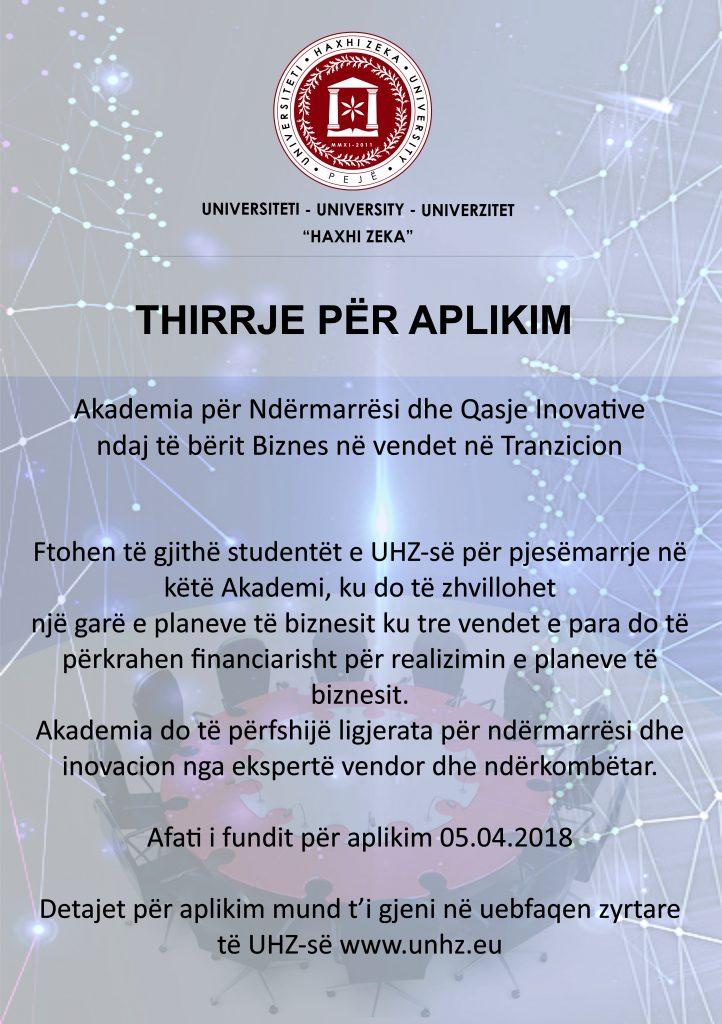 Aplikimi për Akademinë e Ndërrmarësisë