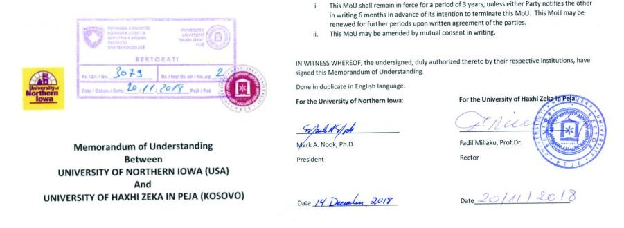 Marrëveshje bashkëpunimi me Universitetin Northern IOWA