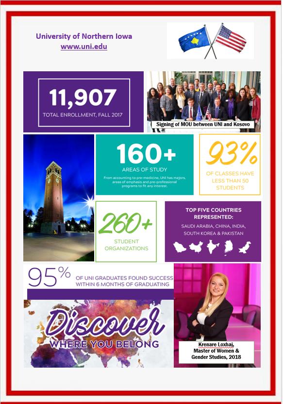 Informata rreth studimeve në University of Northern Iowa