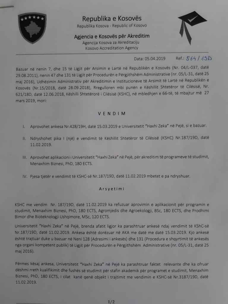 """Universiteti """"Haxhi Zeka"""" në Pejë, merr dritën jeshile për ofrimin e studimeve të Doktoraturës"""